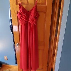 Rust colored azazie bridesmaid dress